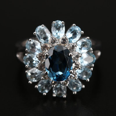 Sterling London Blue and Sky Blue Topaz and Sapphire Ring