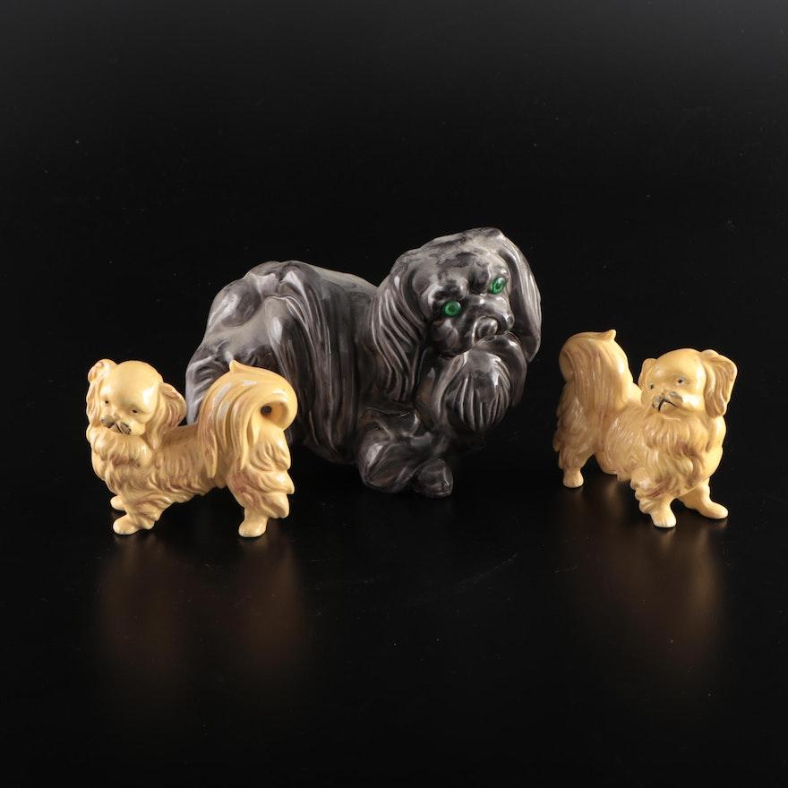 Blonde and Black Ceramic Pekingese Dog Figurines, Mid-20th Century