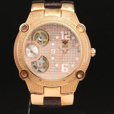 Aquamaster Diamond Rose Gold Tone Quartz Wristwatch