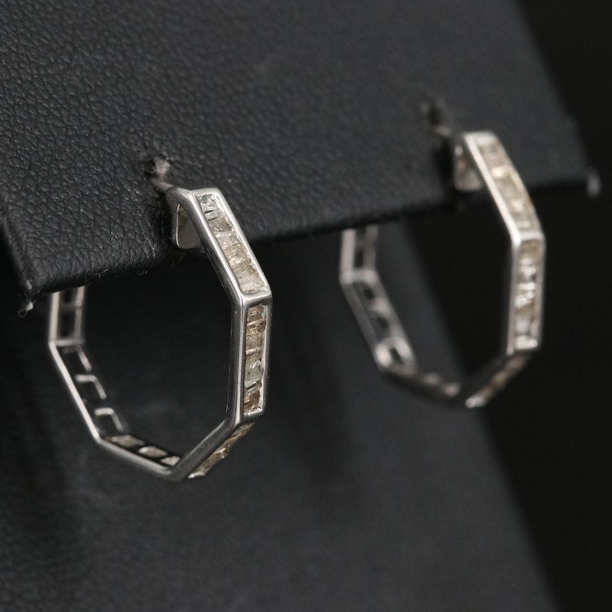 14K Diamond Octagonal Hoop Earrings