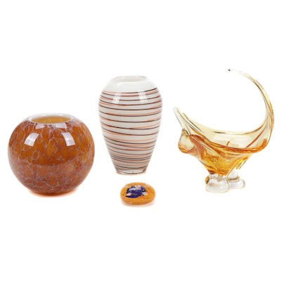 Chalet Handblown Art Glass Centerpiece with Other Vases and Paperweight