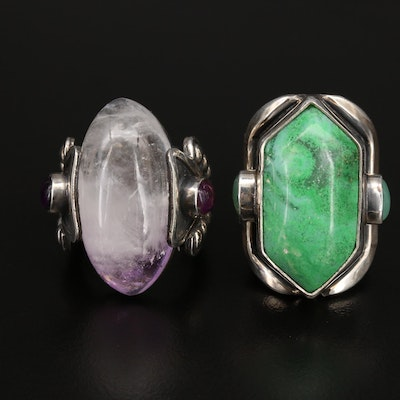 Mexican Sterling Amethyst, Chalcedony and Gemstone Rings