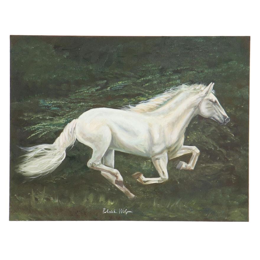 Oil Painting of Running White Horse, 21st Century