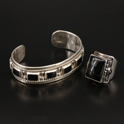 Mexican Sterling Cuff and Ring