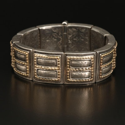 Konstantino Engraved Sterling Panel Bracelet with 18K Accents