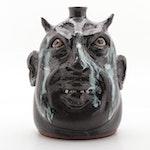 Marvin Bailey Stoneware Folk Art Face Jug