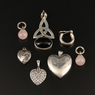 Vintage Sterling Jewelry Featuring Puff Heart Pendant and Tiffany & Co. Earring