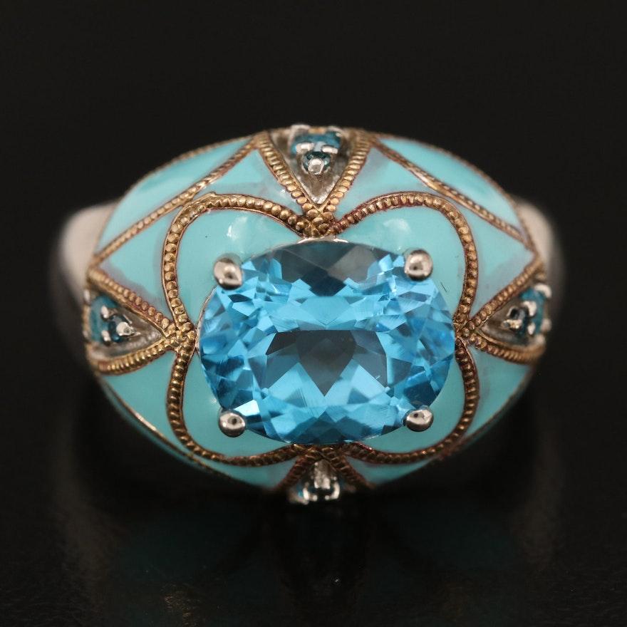 Sterling Swiss Blue Topaz, Diamond, Apatite and Enamel Ring