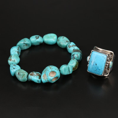 Mexican Sterling Turquoise Ring and Expandable Bracelet with Skull Head