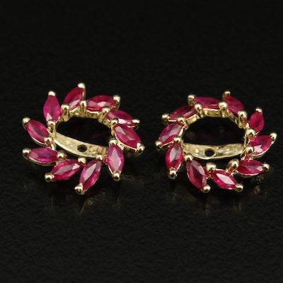 14K Ruby Pinwheel Earring Jackets