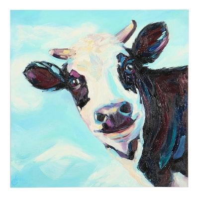 Alyona Glushchenko Oil Painting of Cow, 2021