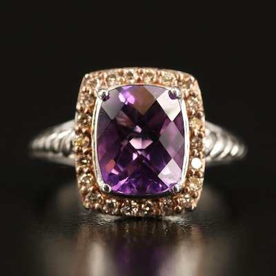 Sterling Amethyst and Diamond Halo Ring