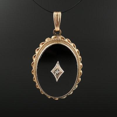 Vintage 14K Black Onyx and Diamond Pendant