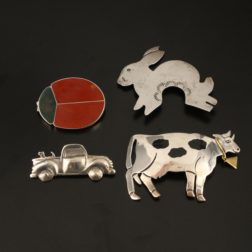 Sterling Ladybug, Rabbit, Cow and Truck Brooches
