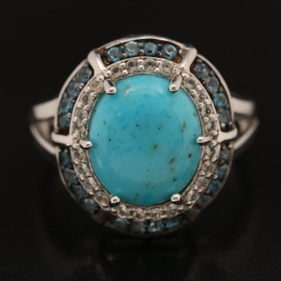 Sterling Turquoise, London Blue Topaz and White Topaz Ring