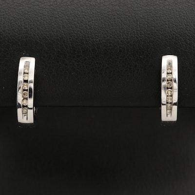 10K Diamond Huggie Hoop Earrings