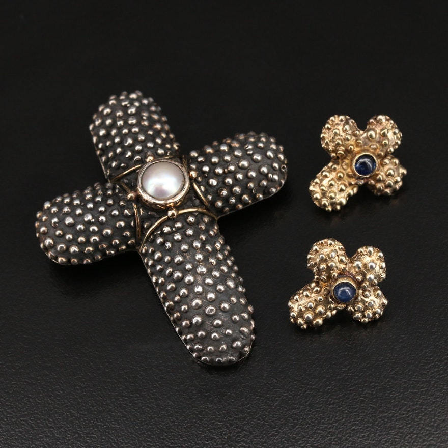 Anne Pratt Sterling Cross Converter Brooch with 14K Accent and Earrings