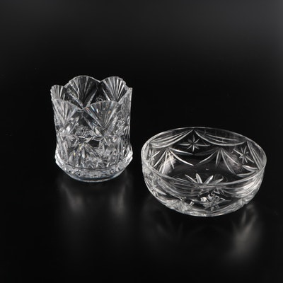 Royal Doulton Crystal Bowl with Other Crystal Vase