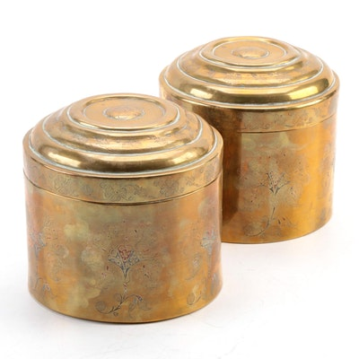 Indo-Persian Engraved Brass Canisters, Antique
