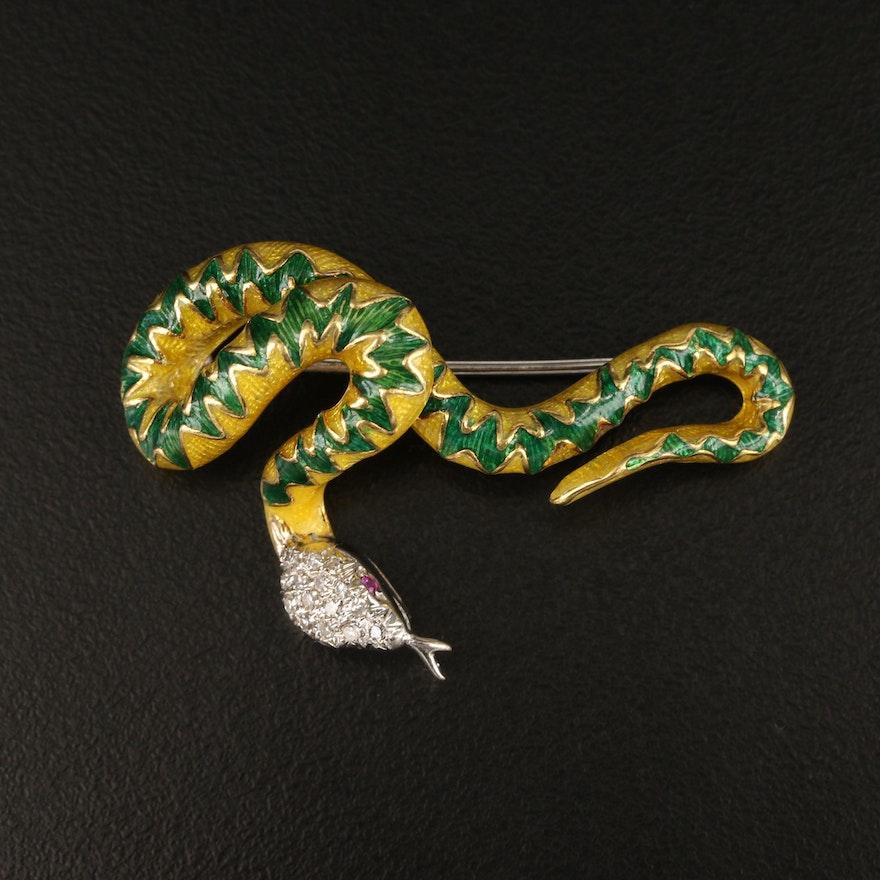 Vintage 18K Diamond, Ruby and Enamel Serpent Brooch