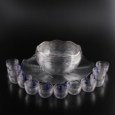 Pressed Glass Punchbowl with Under Plate and Punch Cups