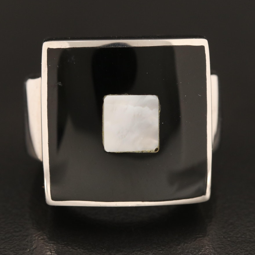 Mother of Pearl and Faux Black Onyx Inlay Ring