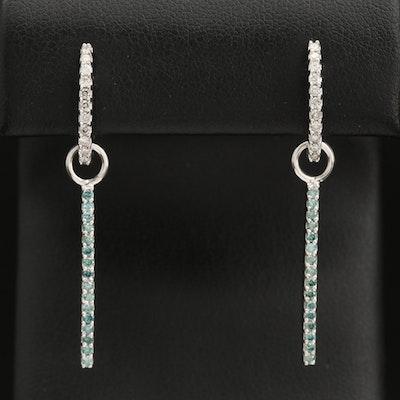 18K Diamond Huggie Hoop Earrings with Bar Drops