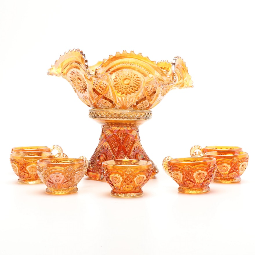 """Imperial Glass """"Fashion Marigold"""" Carnival Glass Punch Bowl and Punch Cups"""
