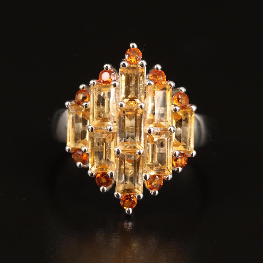 Sterling Citrine Cluster Ring