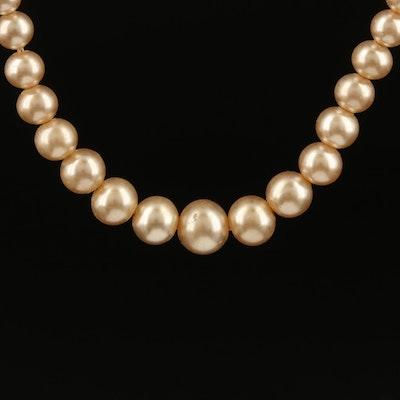 Vintage Collar Length Graduated Imitation Pearl Necklace
