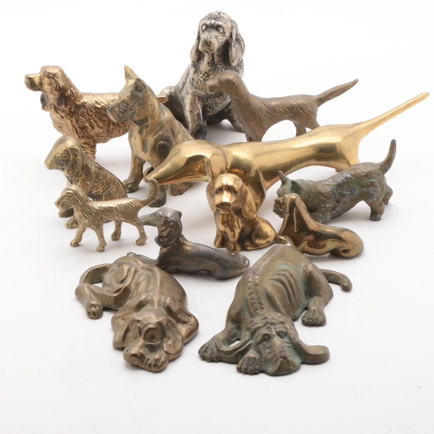 Enesco Brass and Other Metal Dog Figurines