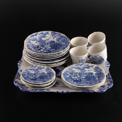 Oxford Blue and White Tea and Dessert Service with Other Tray, Late 20th Century