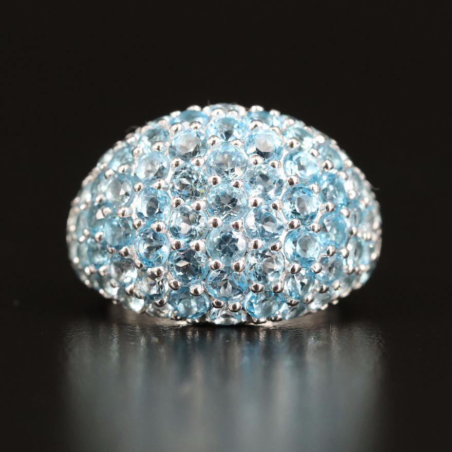 Sterling Swiss Blue Topaz Dome Ring