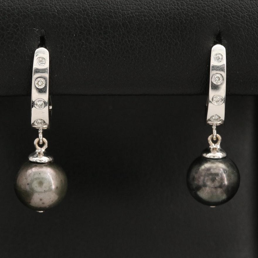 18K Diamond Pearl Drop Earrings