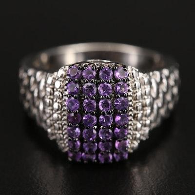 Sterling Amethyst Cluster Ring
