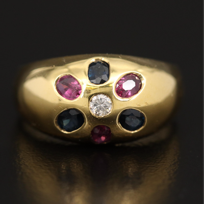 18K Petite Dome Ring with Diamond, Ruby, and Sapphire