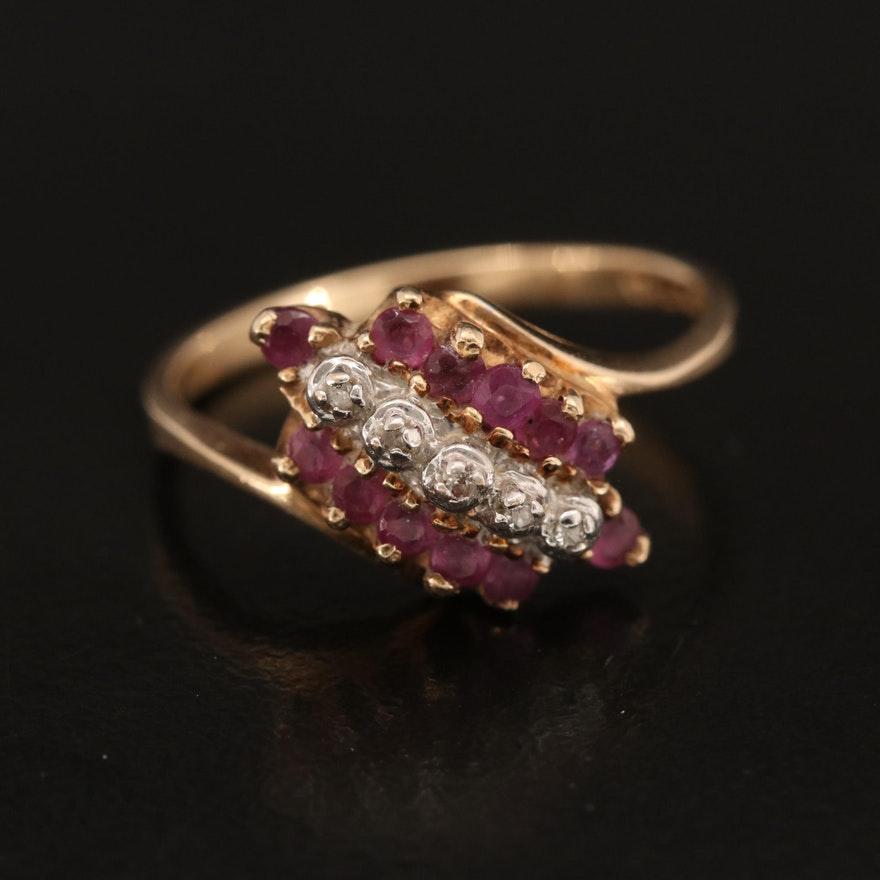 10K Diamond and Ruby Ring