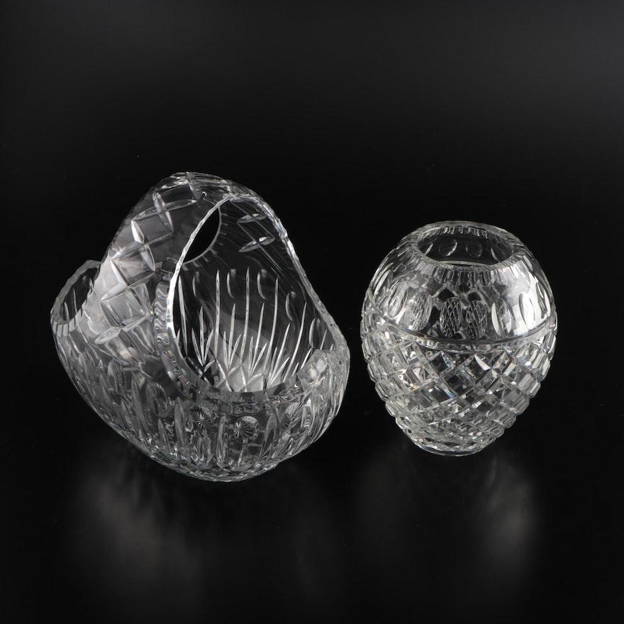 Cazlor Crystal Basket with Crystal Vase