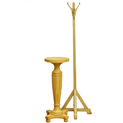 Neoclassical Style Painted Display Pedestal and Arts & Crafts Style Coat Rack