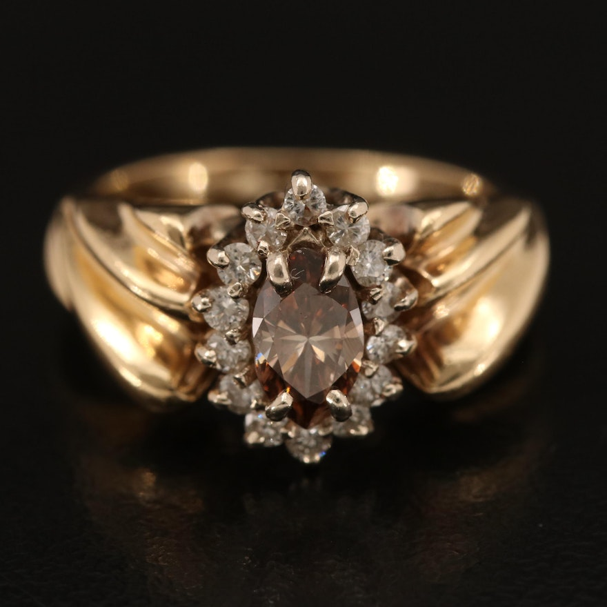 14K Brown Diamond Ring with Twisted Shoulders and Diamond Halo
