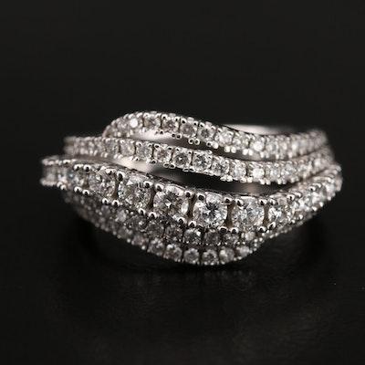 14K 1.37 CTW Diamond Wave Ring