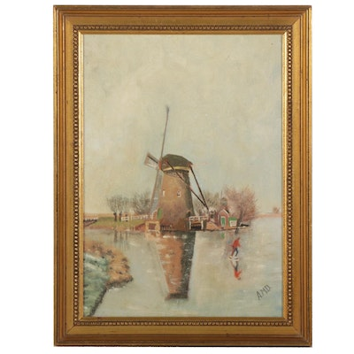 Dutch Canal Landscape Oil Painting, Early-Mid 20th Century
