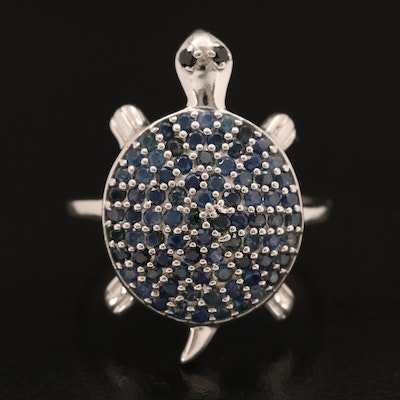 Sterling Sapphire and Spinel Turtle Ring