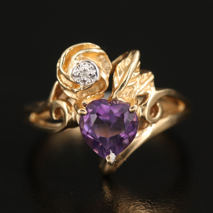 14K Amethyst and Diamond Floral and Heart Ring