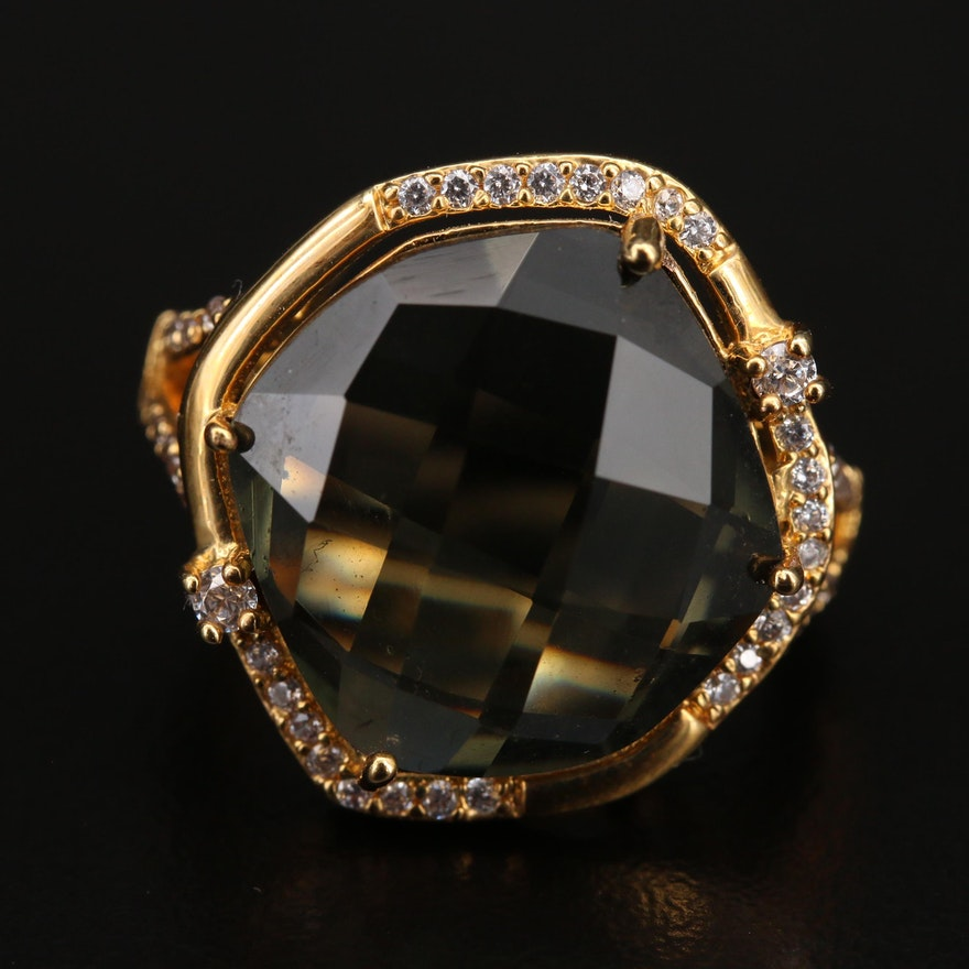 Faceted Glass and Cubic Zirconia Ring