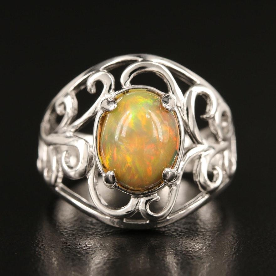 Sterling Opal Scrollwork Ring