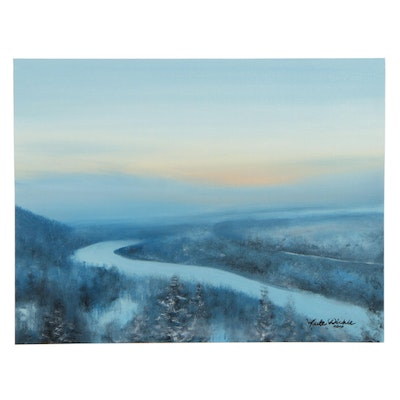 Kate Dickie Winter Landscape Oil Painting, 2020