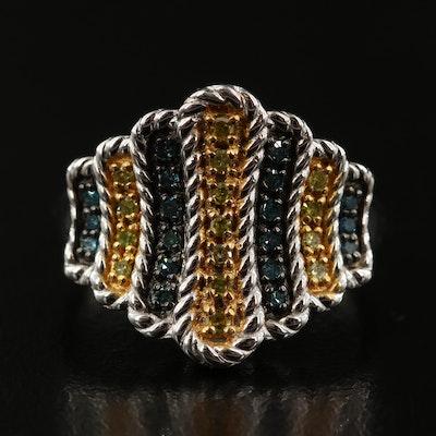 Sterling Diamond Multi-Row Saddle Ring