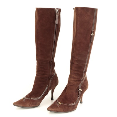 Fendi Pointed Toe Boots in Brown Suede and Leather