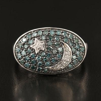 Eva LaRue Sterling Pavé Diamond Star and Crescent Moon Ring